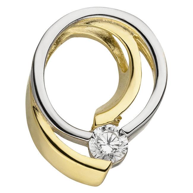 Golden pendant double colored with zirconia