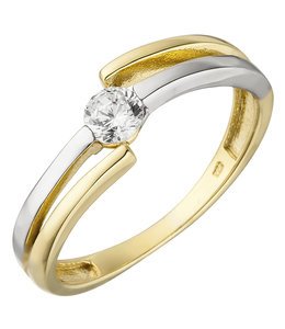 JOBO Golden ring bicolor with zirconia