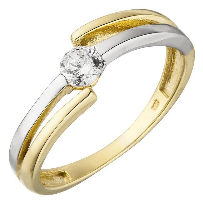 Gouden ring tweekleurig met zirkonia