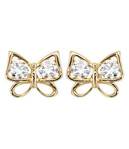 Aurora Patina Gold Ohrstecker Schmetterling mit Zirkonia