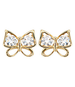 Aurora Patina Gouden oorstekers Vlinder met zirkonia