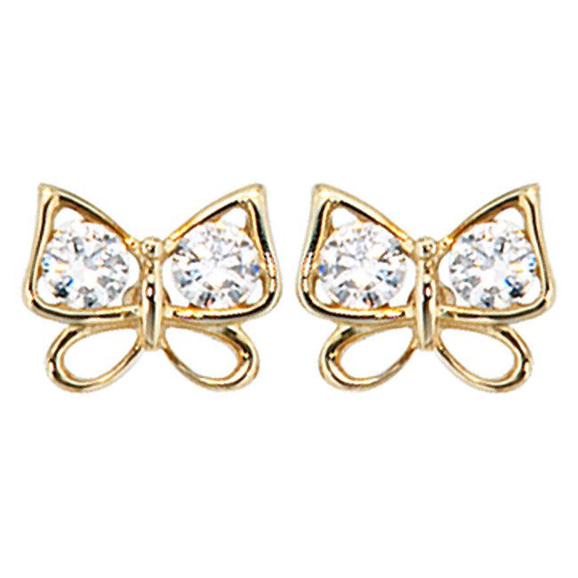 Gold Ohrstecker Schmetterling mit Zirkonia