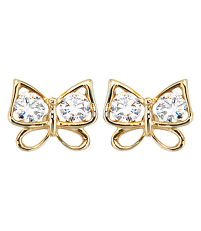 Aurora Patina Gold earstud butterfly with zirconia