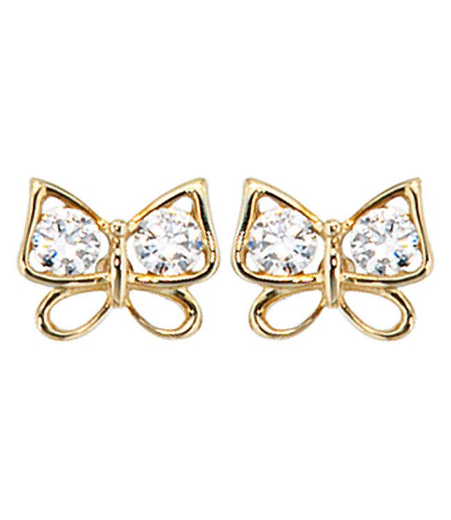 JOBO Gold earstud butterfly with zirconia