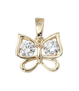 Aurora Patina Gouden kettinghanger vlinder met zirkonia