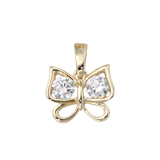 Gold Anhänger Schmetterling mit Zirkonia