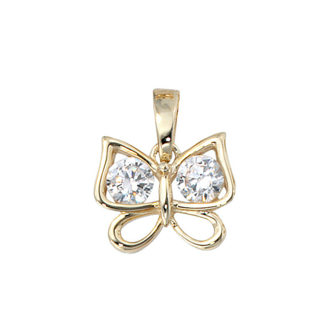 Golden pendant butterfly with zirconia