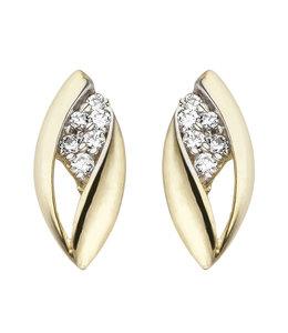 Aurora Patina Gouden oorstekers met zirkonia