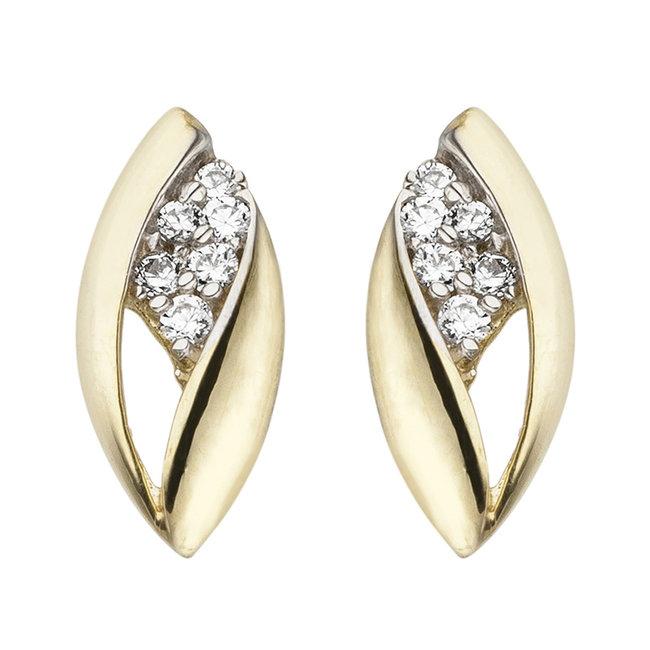 Gouden oorstekers met zirkonia