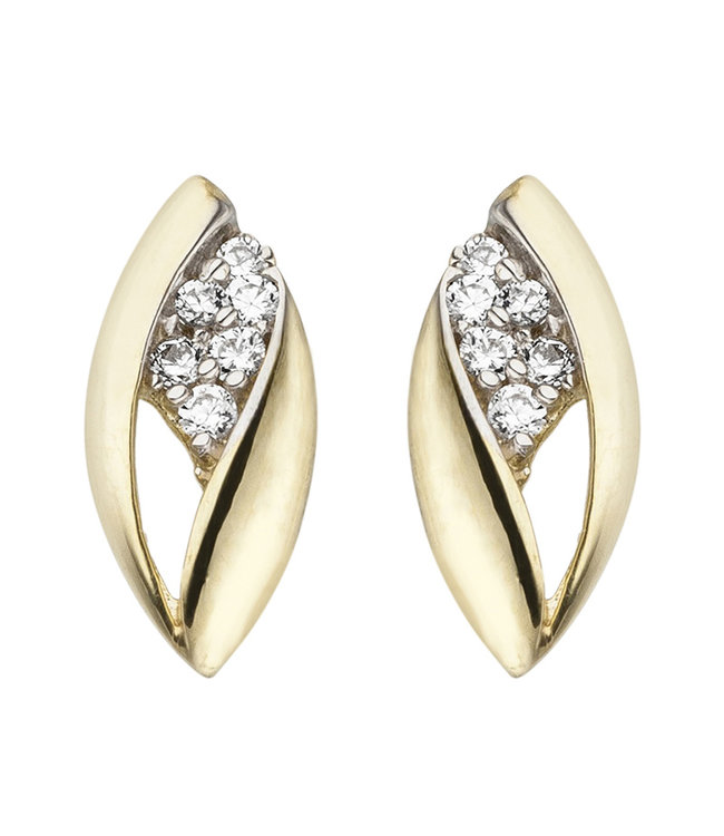 JOBO Golden ear studs with zirconia