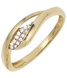 Aurora Patina Golden ring with zirconia