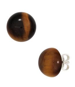 JOBO Silver earstuds brown tiger eye approx. 10 mm