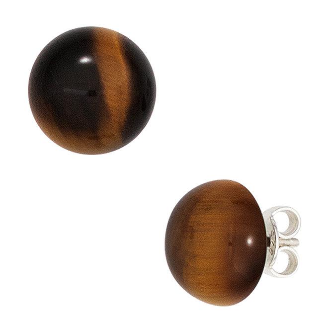 Sterling silver earstuds brown tiger eye approx. 10 mm