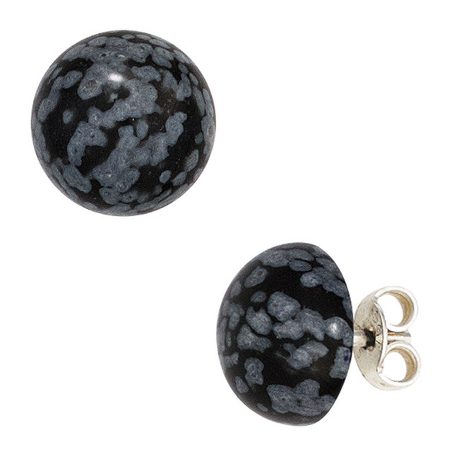 Sterling silver earstuds with 2 snowflake obsidians approx. 10 mm