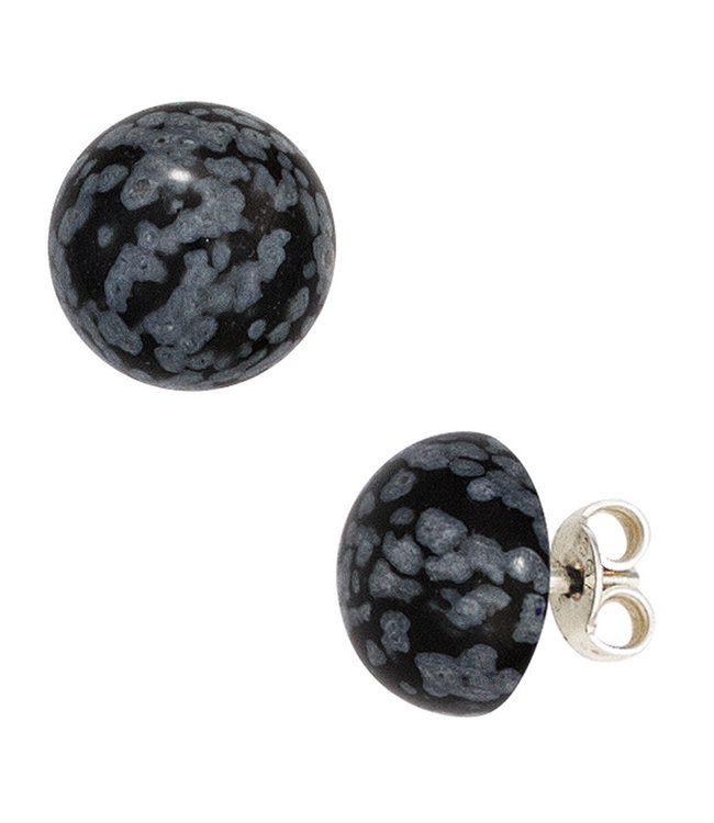 Aurora Patina Sterling silver earstuds with 2 snowflake obsidians approx. 10 mm