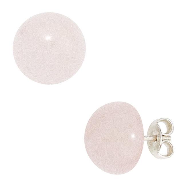 Aurora Patina Zilveren oorstekers rozenkwarts ca. 10 mm
