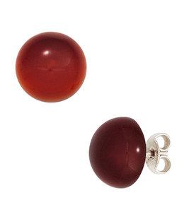 JOBO Silver earstuds Carneole approx. 10 mm