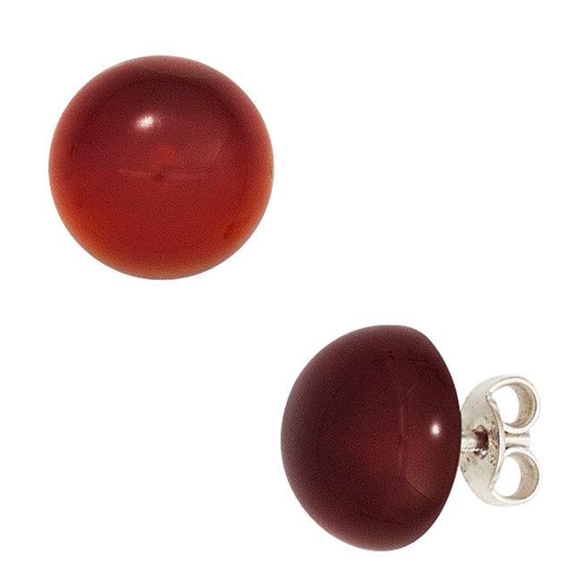 Zilveren oorstekers met carneool ca. 10 mm