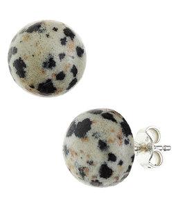 JOBO Silver earstuds Dalmatian jasper approx. 10 mm
