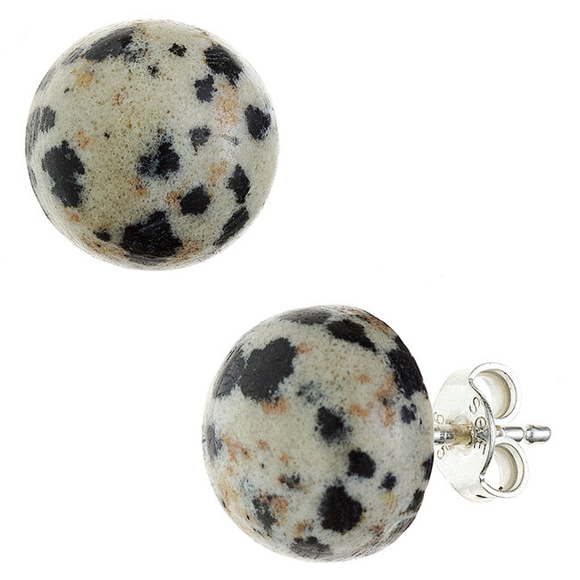 Zilveren oorstekers met Dalmatiër jaspis ca. 10 mm