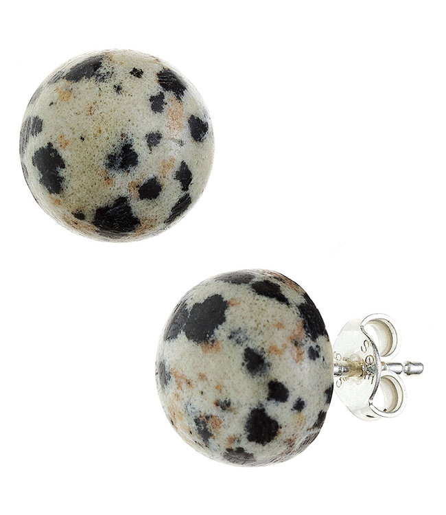 JOBO Sterling silver earstuds with Dalmatian jasper approx. 10 mm