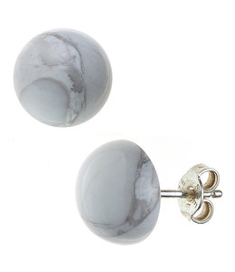JOBO Silver earstuds howlite approx. 10 mm
