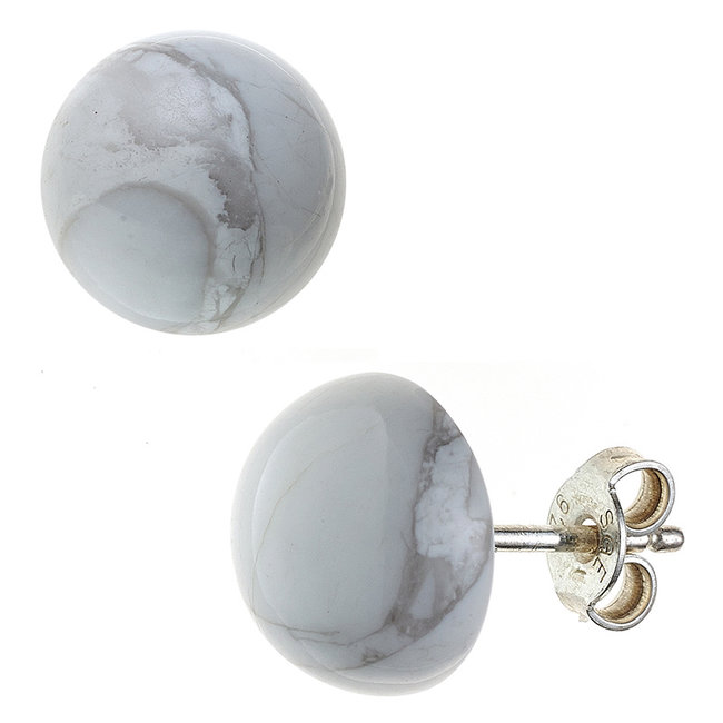Sterling silver earstuds with howlite approx. 10 mm