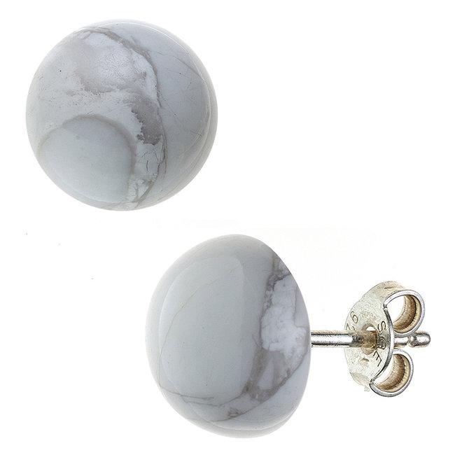 Zilveren oorstekers met Howliet  ca. 10 mm