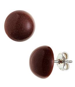 JOBO Silver earstuds goldstone brown approx. 10 mm