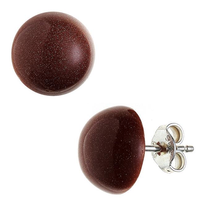 Zilveren oorstekers met goudsteen bruin ca. 10 mm