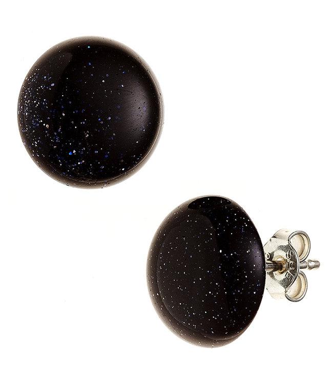 Aurora Patina Zilveren oorstekers met goudsteen blauw ca. 10 mm