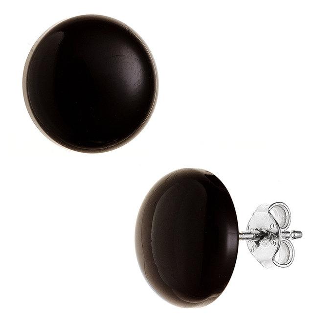 Zilveren oorstekers met Onyx ca. 10 mm