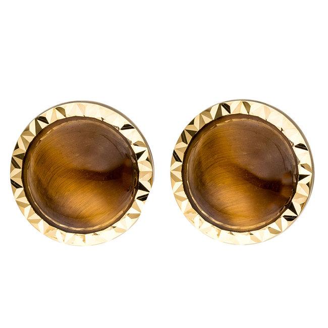 Gouden oorknopjes 14 karaat (585) met 2 bruine tijgerogen