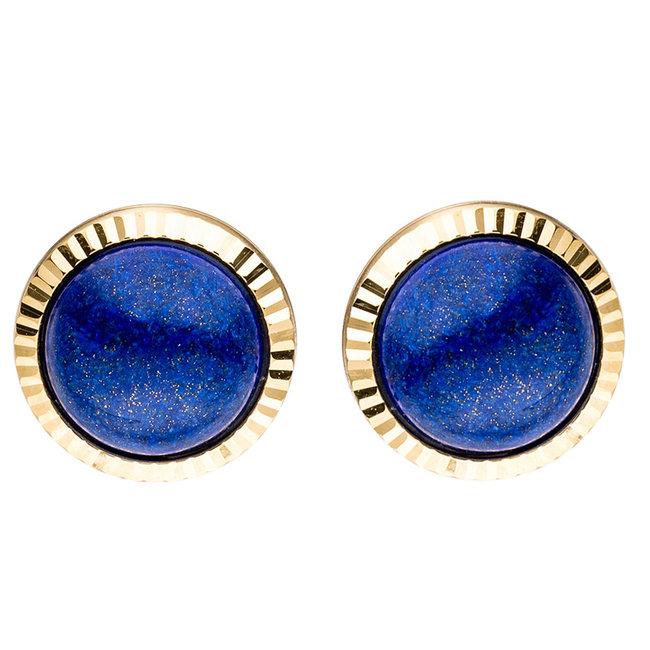 Gold earstuds 8 carat with 2 blue lapis lazuli gemstones