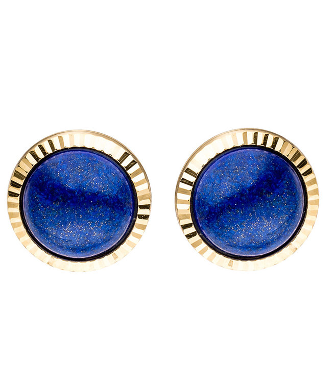 JOBO Gold earstuds 8 carat with 2 blue lapis lazuli gemstones
