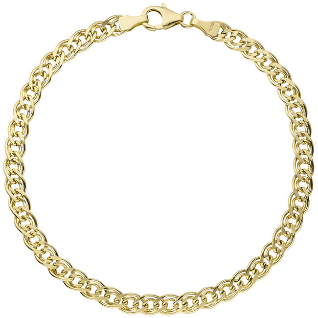 Gold twin chain bracelet (333) 21 cm