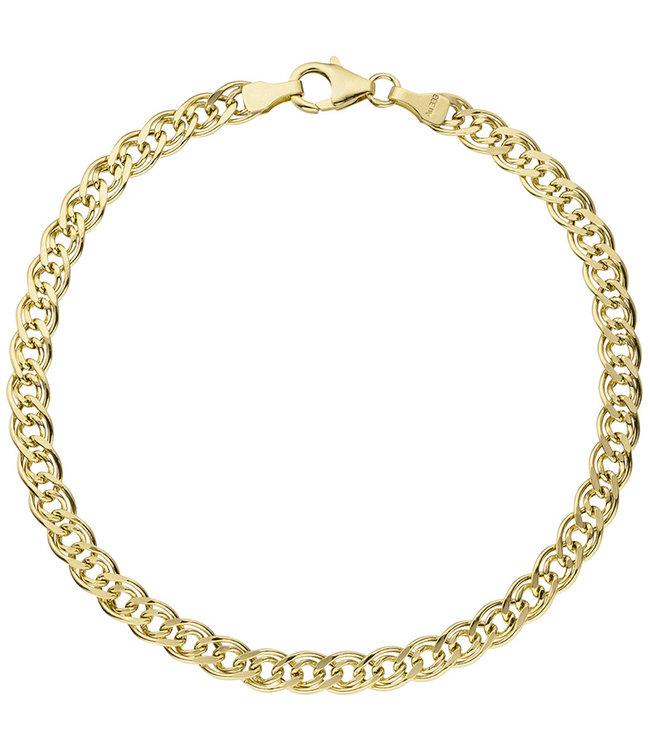JOBO Gouden tweeling schakel armband (333) 21 cm