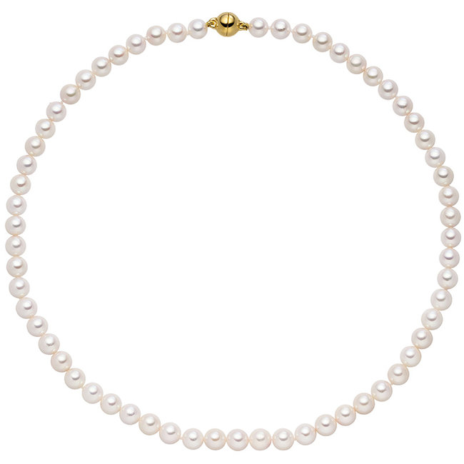 Akoya pearl necklace with sterling silver fastener 43 cm 7 mm gold plated
