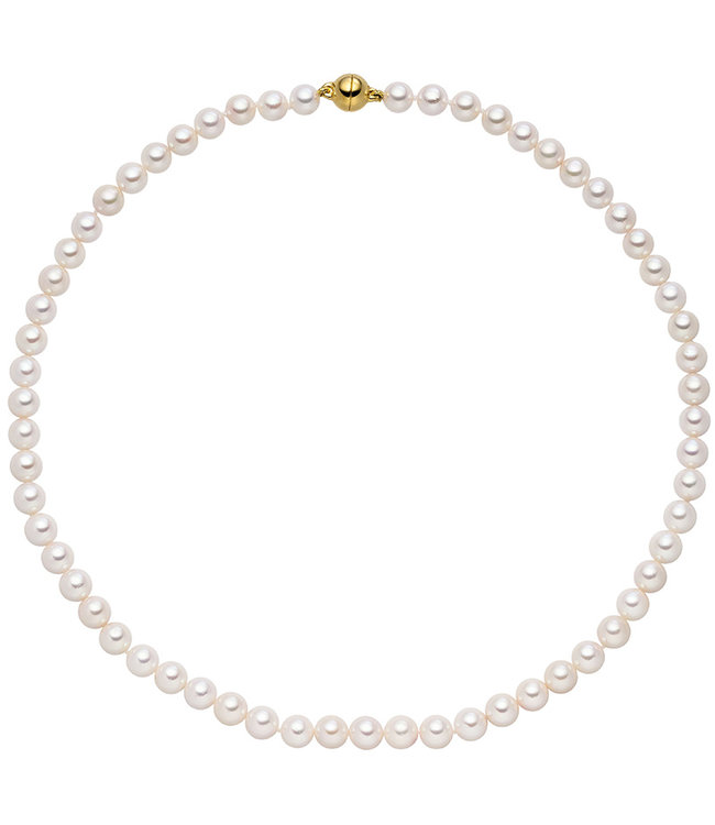 Aurora Patina Akoya pearl necklace with sterling silver fastener 43 cm 7 mm gold plated
