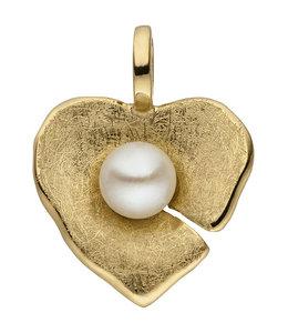 Aurora Patina Gouden hanger hartje 14 karaat met parel