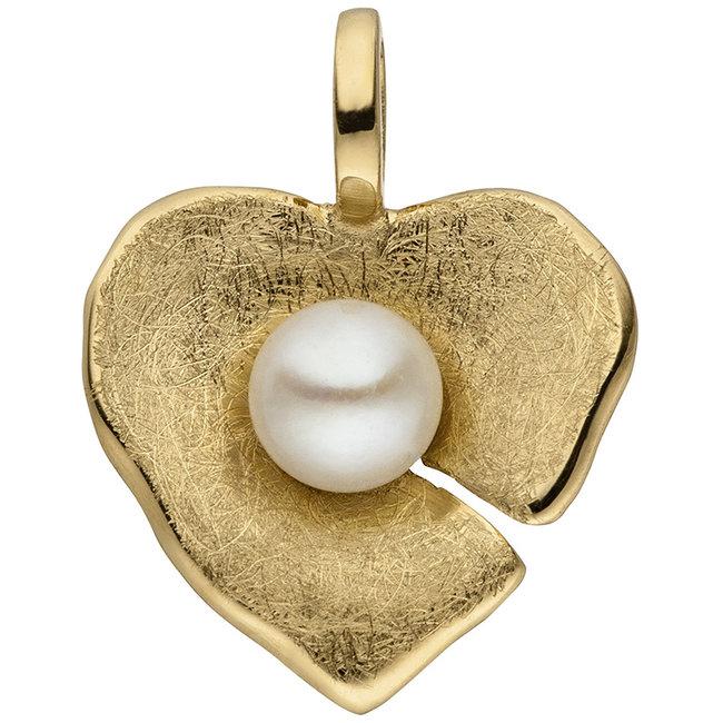 Gouden hanger hartje 14 karaat met zoetwaterparel ca. 4 - 4,5 mm