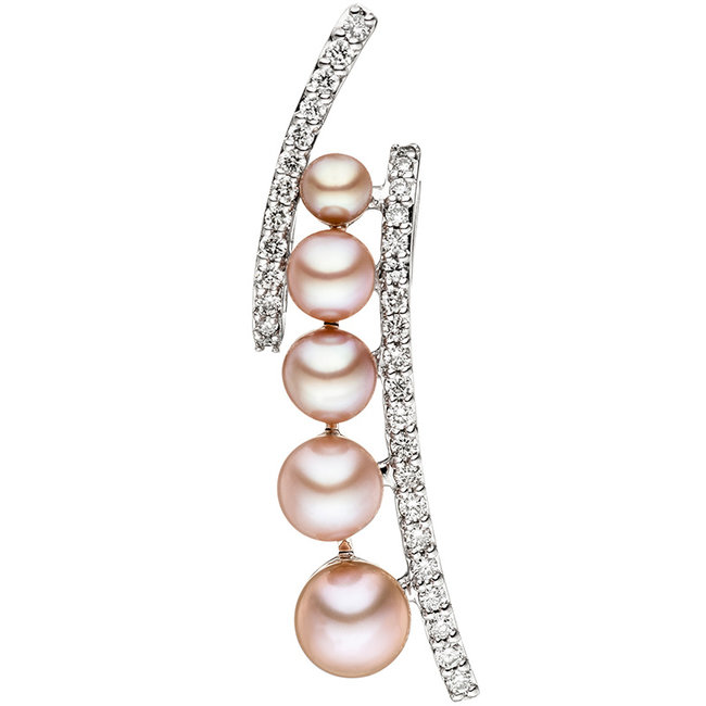 Aurora Patina White gold pendant with 6 pearls and 33 diamonds