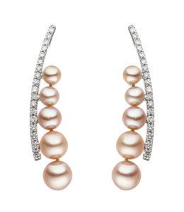 JOBO Weißgoldohrringe mit 10 Perlen und 36 Brillanten
