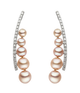 JOBO White gold earrings with 10 pearls and 36 diamonds