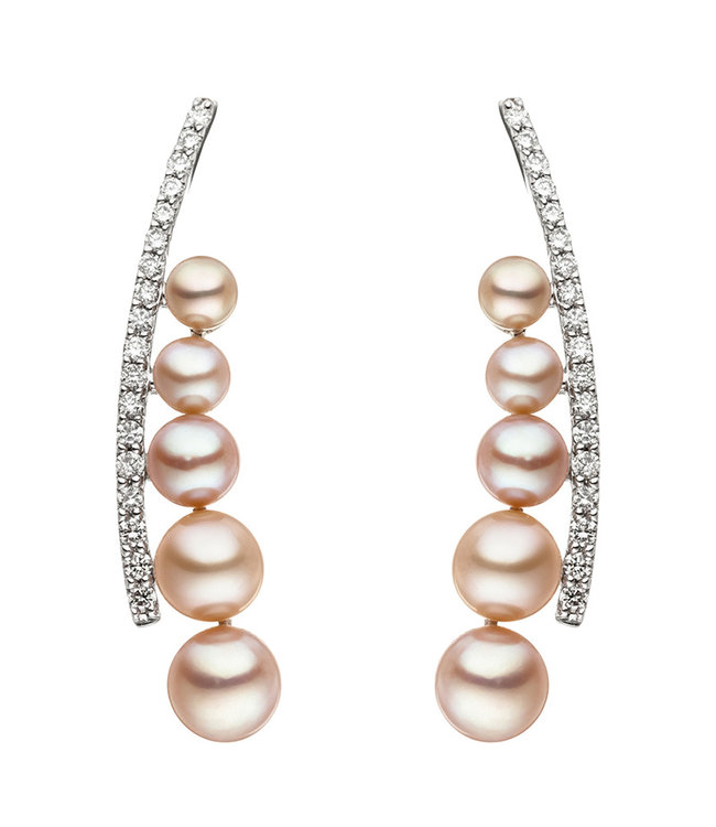 JOBO White golden earrings 14 carat with pearls and brilliant cut diamonds