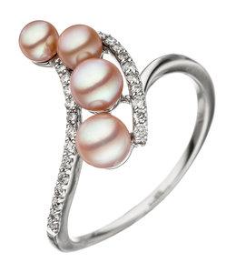 Aurora Patina Weißgoldring mit 4 Perlen und 24  Brillanten