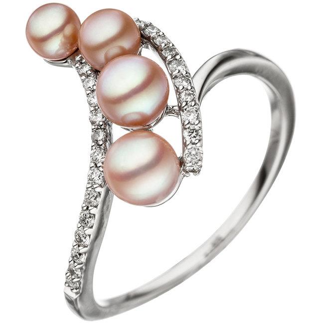 Wit gouden ring 14 karaat met zoetwaterparels en briljanten