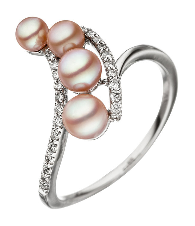 JOBO White golden ring 14 carat with pearls and brilliant cut diamonds
