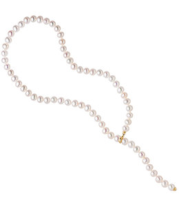 JOBO Adjustable pearl necklace with golden pearl clip 14 kt