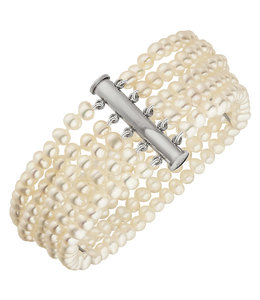 Aurora Patina Parel armband met vijf rijen zoetwaterparels